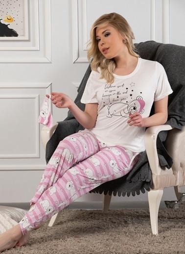 Strawberry Pamuklu Kısa Kol Pijama Takım Ekru